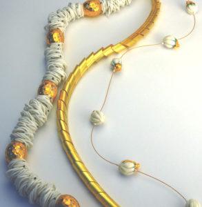 Halsschmuck Gold 750 Porzellan, Silikon